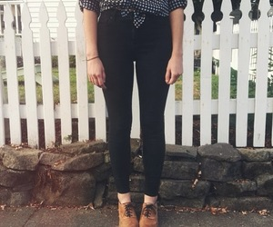 blouse, jeans, and brogues image