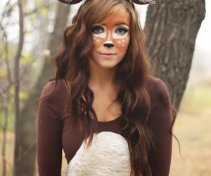 autumn, hair, and deer image
