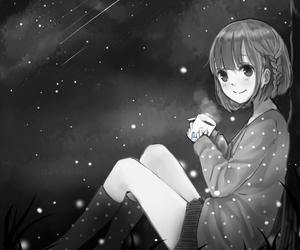 anime girl, black and white, and kawaii image