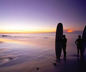 beach, guy, and ocean image