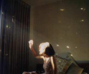 girl, light, and bed image