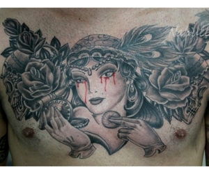caveira, florianopolis, and chest tattoo image
