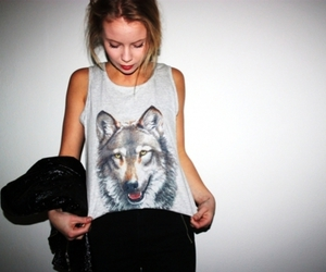 girl, fashion, and wolf image