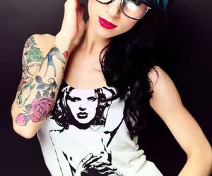 tattoo, girl, and blue image