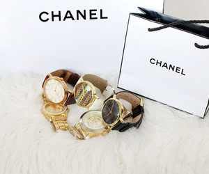 gold, chanel, and clock image