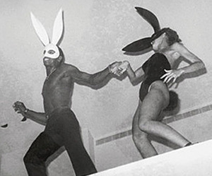 black and white, bunny, and Halloween image