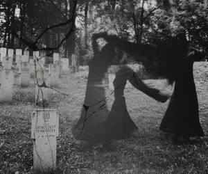 black and white, ghost, and cemetery image