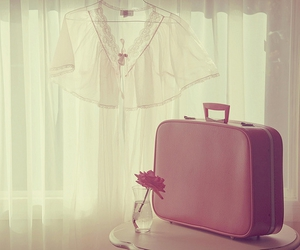 pink, flowers, and bag image