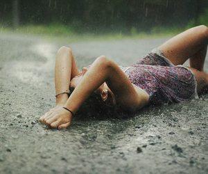 girl, rain, and dress image