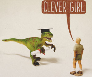 funny, clever girl, and jurrasic park image