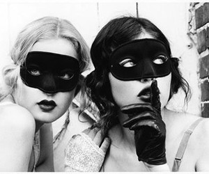 lipstick, masks, and spooky image
