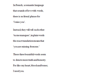 french, i need you, and poem image