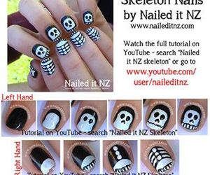 nails, skeleton, and Halloween image