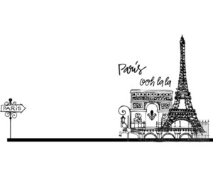 black, eiffel, and paris image
