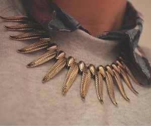 fashion, jumper, and necklace image