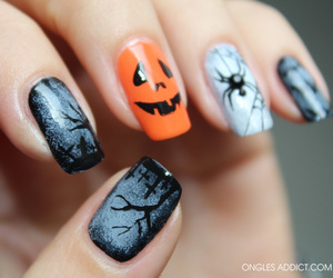 nails, Halloween, and spider image