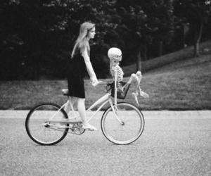 girl, skeleton, and bike image