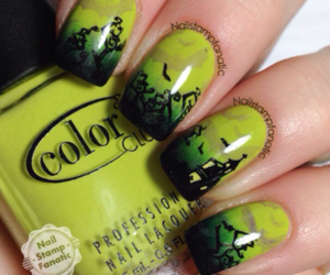 black, nailart, and green image