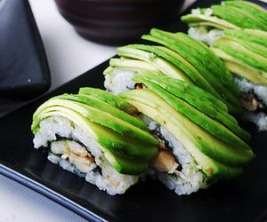 food, sushi, and avocado image