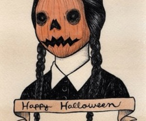 wednesday addams, happy halloween, and ppumpkin image