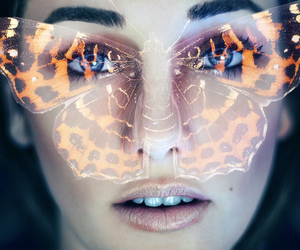 girl, butterfly, and eyes image