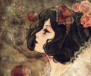 snow white, apple, and art image