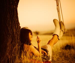 girl, smoke, and tree image