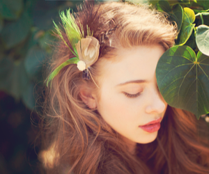 girl, hair, and leaves image