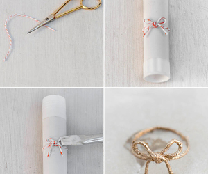 bow, diy, and gold image
