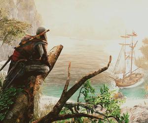 black flag, pirate, and sea image