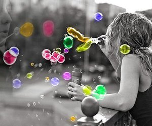 black and white, bubbles, and colors image