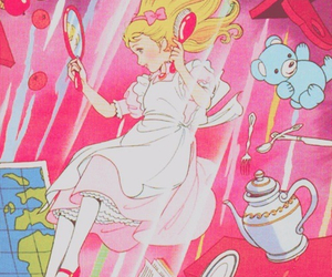 pink, alice, and alice in wonderland image
