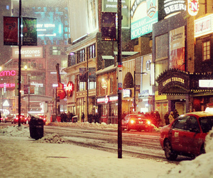 snow, city, and lights image