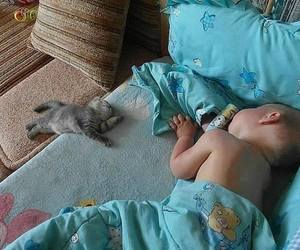 baby, cat, and sleep image