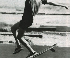 black and white, girl, and longboard image