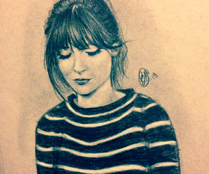 drawing, fashion, and zooey deschanel image