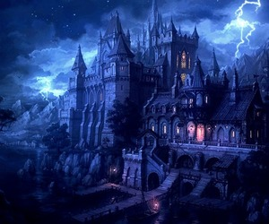 castle, fantasy, and night image