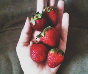 strawberries, food, and girl image