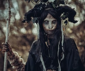 dark, witch, and skull image