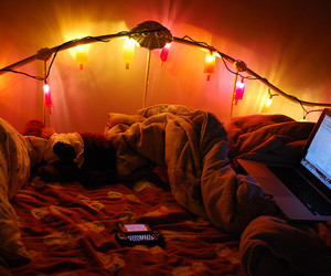 light, bed, and room image