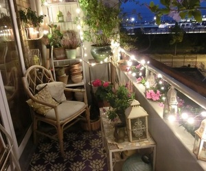 balcony, light, and flowers image
