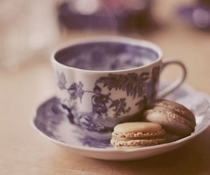 tea, cup, and macaroons image