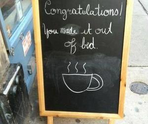 coffee, sign, and sidewalk image