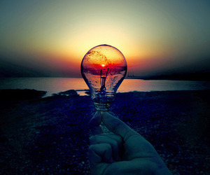 light, sunset, and sun image