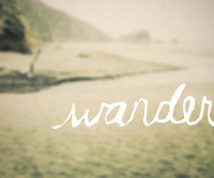 wander, text, and beach image