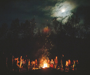 night, fire, and friends image