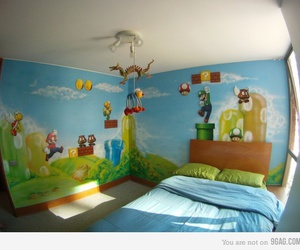 room, bedroom, and mario image