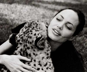 Angelina Jolie, animal, and black and white image