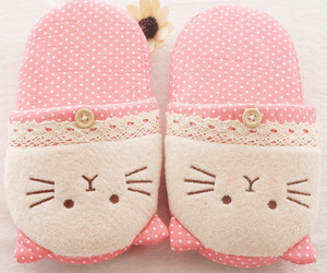 pink, slippers, and cat image