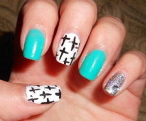 nails, cross, and diy nails image